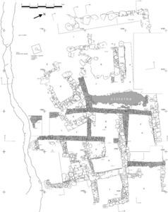 Planta dels santuaris del cap des Llibrell després de la campanya de 1998. En trama, les estructures de la fase púnica. Elaboració: Joan Ramon Torres.