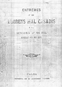 Portada d´una edició de la peça de teatre satíric <em>En Llorenç Malcasadís</em>.