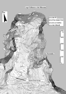 Plànol de la mola d´Albarca, amb la situació de les torres d´en Lluc. Dibuix: Joan Ramon Torres.