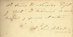 Dedicatòria de l´obra <em>Les Antigues Pitiüses</em> al notari Narcís Puget i Sentí, signada per l´arxiduc Lluís Salvador d´Àustria. Cortesia de Félix Marí de la Paz.