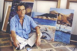 El pintor Ferran Lorenzo Bofill al seu estudi el 1999. Foto: Toni Pomar.
