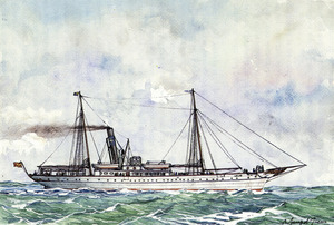 El vapor Lulio, que durant molts d´anys va servir les línies marítimes eivissenques. Aquarel·la de Ramon Sampol Isern.