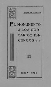 Portada del llibre d´Isidor Macabich i Llobet publicat l´any 1914, amb ocasió de la inauguració del monument als corsaris.