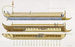 Magó. Reconstrucció hipotètica d´una nau púnica, segons M. Leek.