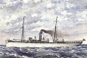 El tercer vaixell que va dur el nom de <em>Mallorca</em> i que embarrancà el 1913 a la llosa de Santa Eulària. Extret de <em>Vapores de las Islas Baleares</em>.