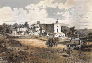 Litografia de l´Arxiduc. Darrere l´església de Sant Josep s´albira el puig d´en Manyà. Extret de <em>Les Antiguas Pitiusas.</em>