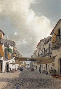 El carrer de Mar, segons una litografia del llibre <em>Les Antigues Pitiüses</em> de l´arxiduc Lluís Salvador d´Àustria.