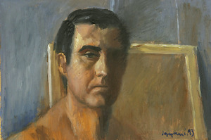 Autoretrat del pintor i escriptor Josep Marí Marí. Oli damunt taule (1993), 31 x 4,5 cm. Foto: Vicent Marí.