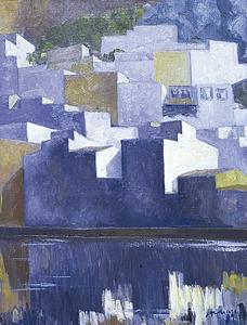 La ciutat d´Eivissa en una pintura de Josep Marí Marí. Oli sobre tela (1989), 61 x 48 cm.