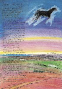 Josep Marí Marí. Pintura de la sèrie <em>El color per la paraula</em>, que apareix al seu llibre <em>La veu pintada</em>. Tècnica mixta (1995), 45 x 32 cm.