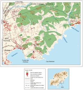 Mapa de la vénda de sa Marina, del poble de Jesús. Elaboració: Josep Antoni Prats Serra / José F. Soriano Segura / Antoni Ferrer Torres.