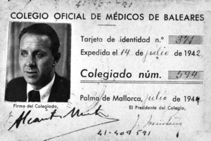 Anvers del carnet professional de Pedro de Alcántara Martínez Martínez. Cortesia d´Alícia Martínez López-Hermosa.