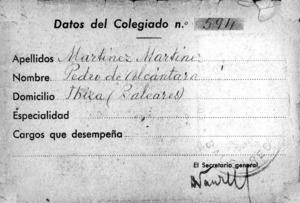 Revers del carnet professional de Pedro de Alcántara Martínez Martínez. Cortesia d´Alícia Martínez López-Hermosa.