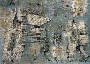 <em>Hombres de arena</em> (1963), pastel sobre cartó, 99 x 70 cm., obra de Katia Meirowsky.