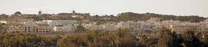 Els molins de sa Mirada, la silueta dels quals caracteritza la linia de l´horitzó de Sant Francesc. Foto: Marià Castelló Martínez.