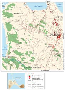 Mapa de la vénda de la Miranda-Cala Saona (Formentera). Elaboració: Vicent Ferrer Mayans / José F. Soriano Segura / Antoni Ferrer Torres.