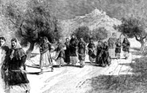 Camí de missa, segons un gravat de final del s. XIX del francès Gaston Vuillier. Extret de <em>Les Illes Oblidades. Viatge a les Balears.</em>