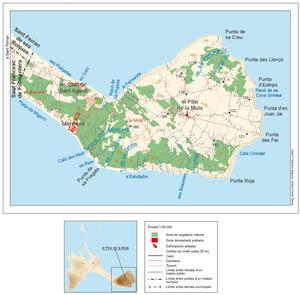 Mapa general de la Mola (Formentera). Elaboració. José F. Soriano Segura / Antoni Ferrer Torres.