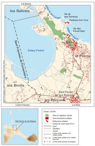 Mapa de la vénda des Molí-s´Estany (Formentera). Elaboració: Vicent Ferrer Mayans / José F. Soriano Segura / Antoni Ferrer Torres.