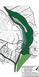 Plànol del canal des Molins, en el qual es pot veure la situació de la bassa des Molinets. Elaboració: Antoni Ferrer Abárzuza.