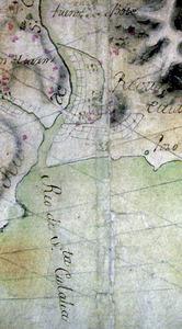 Detall del plànol de 1765 de l´enginyer militar José García Martínez. El canal des Molins apareix cartografiat encerclant una zona d´horts a la vora del riu. Cortesia del Servicio Cartográfico del Ejército.