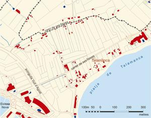 Mapa del prat de ses Monges, amb la platja de Talamanca en primer terme. Elaboració: José F. Soriano Segura / Antoni Ferrer Torres.