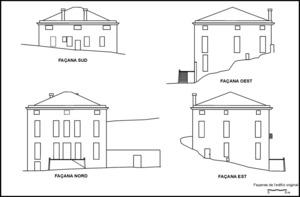 Les façanes de can Montero tal com es va construir el s. XVII. Elaboració: Enrique Díes Cusí.