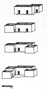 Evolució de la casa pitiüsa, segons dibuix d´Eric Muhle. Extret d´<em>Arquitectura y espacio rural en Ibiza.</em>
