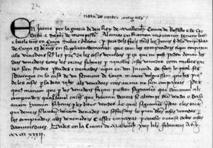 Fragment d´una carta reial adreçada a Ramon Muntaner com a camarlenc de Jaume III i batle seu a Eivissa.