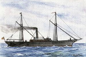 El <em>Niny</em>, prijmer vaixell de vapor matriculat a Eivissa, que era propietat de la companyia dels germans Wallis y Cía. Extret de <em>Vapores de las Islas Baleares</em> / Ramon Sampol Isern.