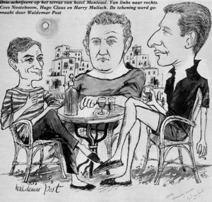 Caricatura de Cees Nooteboom, Hugo Claus i Harry Mulisch, escriptors holandesos, de tertúlia a la terrassa de l´Hotel Montesol. Extret d´<em>Ibiza - Ibizee - Ibizaad - Ibizam</em>.