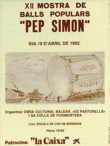 Obra Cultural Balear de Formentera. Cartell de la Mostra de balls populars Pep Simon.
