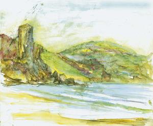 Es Paller d´en Camp, al N de la platja des Figueral, en un quadre del pintor Mario Stafforini.
