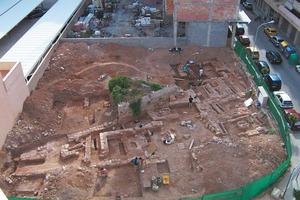 Hort des Palmer. Vista aèria del jaciment des del sector nord-oest durant les excavacions. Foto: Glenda Julieta Graziani Echávarri.
