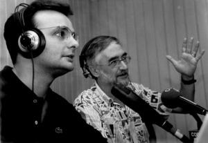 Realització del programa de ràdio <em>Parlem de cultura</em>, que es va emetre entre 1993 i 1997. Foto: arxiu Ribas.