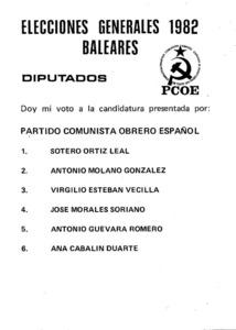 Llista electoral del Partit Comunista Obrer Espanyol (PCOE) a les eleccions de 1982.
