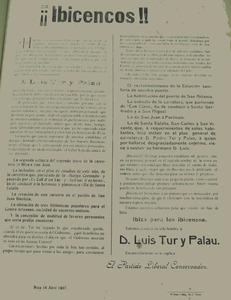 Pamflet electoral del Partit Conservador de les eleccions de 1907, en les quals fou elegit diputat el seu representant Lluís Tur i Palau.