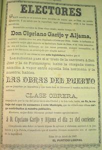 Pamflet electoral de 1907 del Partit Liberal, amb Cipriano Garijo com a candidat.