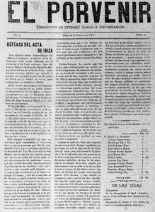 <em>El Porvenir</em>, diari fundat el 1902 com a òrgan del Partit Liberal i que va rivalitzar amb <em>El Correo de Ibiza</em>, del Partit Conservador.