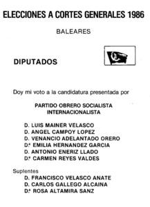 Candidatura que presentà a les Balears el Partit Obrer Socialista Internacionalista (POSI) a les eleccions generals de 1986.