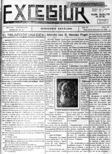 <em>Excelsior</em>, setmanari catòlic publicat durant la Segona República i que era fervent defensor de les idees del Partit Social Agrari.