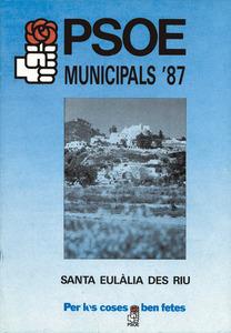 Portada del programa electoral del Partit Socialista Obrer Espanyol a l´Ajuntament de Santa Eulària des Riu, el 1987.