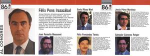 Propaganda electoral amb els candidats per Balears al Congrés dels Diputats del Partit Socialista Obrer Espanyol, corresponent a les eleccions de 1986.