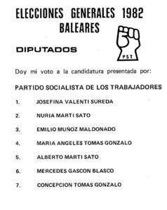 Candidatura del Partit Socialista dels Treballadors (PST) per a les eleccions generals de 1982.