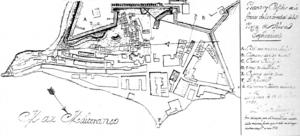 Els plànols dels s XVII i XVIII mostren el raval de sa Penya en funció de les necessitats de defensa. El de l'enginyer Berenguer (1737), permet veure els avenços de la construcció al barri de sa Penya tot al llarg del carrer de la Mare de Déu i fins al racó de la muralla. Aquesta expansió constituïa un perill per a la seguretat de la vila; així, els edificis numerats s'havien d'enderrocar i només els mariners foren permesos de residir extramurs. El plànol assenyala la bateria de la torre de la Mar (D), que defensava directament l'entrada del port, el molí de sa Torre (un poc més amunt) i el front marítim del raval, amb el moll o cap de pont (F), fins a la porta de la Creu (E). Extret de <em>La Real Fuerza de Ibiza.</em>