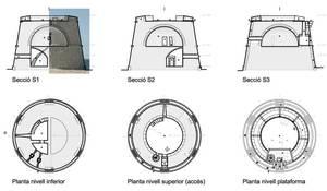 Planta i seccions de la torre de la Gavina, de geometria i dimensions idèntiques a la torre des Pi des Català. Elaboració: Marià Castelló Martínez.