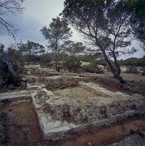 Restes arqueològiques de can Pins, a Formentera, jaciment que també es coneix amb el nom de <em>castellum</em> de can Blai. Foto: Museu Arqueològic d´Eivissa i Formentera.