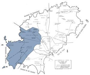 Situació i límits del quartó de Portmany segons l´estudi de J. Marí Cardona <em>La conquista catalana de 1235</em> (1976).