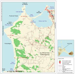 Mapa de la vénda de Porto-salè, de Formentera. Elaboració: Vicent Ferrer Mayans / José F. Soriano Segura / Antoni Ferrer Torres.