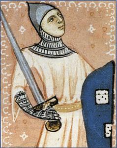 Pere de Portugal, segons una il·lustració del <em>Llibre de privilegis</em> custodiat a l´Arxiu Històric de Mallorca. Extret d´<em>Els Reis de Mallorca</em>.